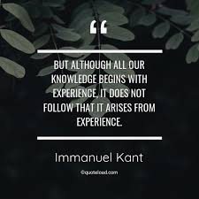 but although all our knowledge immanuel kant about experience