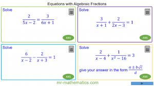 algebraic fractions mr mathematics