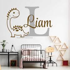 Custom Boy Name Wall Decal Cartoon Dinosaur Murals Baby Room Wall Decor Sticker Diy Dinosaur Vinyl Nursery Wallpapers Lc1678 Wall Stickers Aliexpress