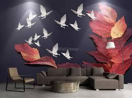 Maple Leaf With White Butterflies Wallpaper Mural Wallmur