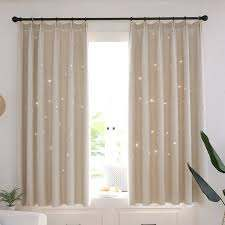 Double Layer Blackout Sheer Curtains Starry Hollow Out Stars Curtain Room Darkening Starry Curtain Eyelet Ring Top Hooks Window Drape For Kids Girls Children Bedroom Decor Walmart Com Walmart Com