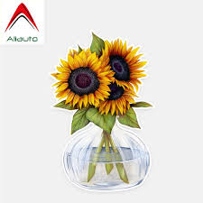 Aliauto Car Stickers Pretty Sunflower Accessories Decor Vinyl Decal For Jdm Vw Polo Lada Nissan Golf 5 Kia Passat 14cm 9cm Car Stickers Aliexpress