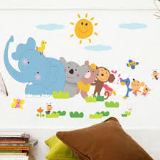Cartoon Animals Removable Wall Stickers Animals Wall Sticker Home Decor Nursery Decal For Kids Room Decal Walmart Com