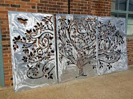 Wispy Tree Metal Privacy Screen Decorative Panel Outdoor Garden Fence Art In 2020 Fence Art Garden Fence Art Decorative Panels