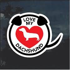 I Love My Dachshund Heart Window Decal Sticker Custom Sticker Shop