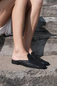 naomi woven black leather mules shoes