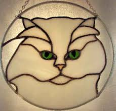 chinchilla persian cat stained glass