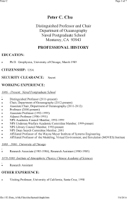 Peter C. Chu. Distinguished Professor and Chair Department of Oceanography  Naval Postgraduate School Monterey, CA PROFESSIONAL HISTORY - PDF Free  Download