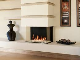 gas 3 sided built in fireplace panorama