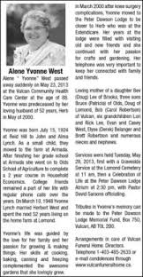Alene West | Obituary | Vulcan Advocate