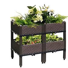 Jolitac Set Of 4 Raised Garden Beds Wbrackets Elevated Garden Bed Kit Patio Flower Plant Planter Box Vegetables Planting Container Fence Indoor Outdoor For Porches Decks Balconies Yard Gardening Buy Products