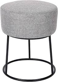 Amazon Com Birdrock Home Grey Linen Foot Stool Ottoman Soft Compact Round Padded Seat Living Room Bedroom And Kids Room Chair Black Metal Legs Upholstered Decorative Furniture Rest Vanity