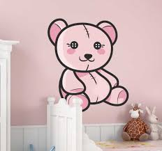 Kids Pink Teddy Bear Decal Tenstickers