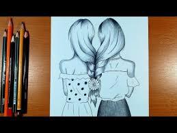 beautiful hair pencil sketch drawing