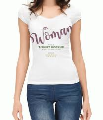 woman with t shirt mockup psd template