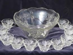 vintage glass punch bowl sets for