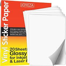 Joyeza Premium Printable Vinyl Sticker Paper For Inkjet Printer 20 Sheets Glossy White Waterproof Decal Paper