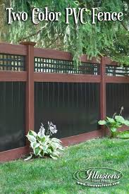 Fence Ideas That Add Curb Appeal Incredible Rosewood And Black Pvc Vinyl Privacy Fence With Square Latti Vinyl Privacy Fence Privacy Fence Designs Vinyl Fence