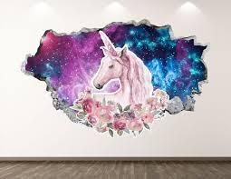 Unicorn Wall Decal Magic 3d Smashed Wall Art Sticker Kids Etsy