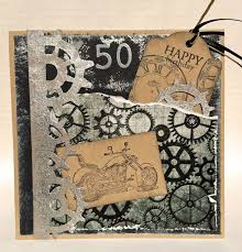 Birthday Card Stampin Up Stamp Motorcycle Tim Holtz Steampunk