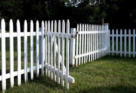 White Picket Fence With Gate Opened Stock Image Colourbox