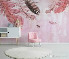 hand painted pink feathers 3d wallpaper