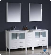 72 white modern double sink bathroom