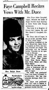 Ralph Durrell Duce and Faye Adele Campbell Wedding - Newspapers.com