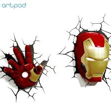 Artpad 3d Wall Sticker Lamp Marvel Toys Avengers Iron Man Iron Man Hul