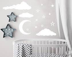 Cloud Wall Decal Moon And Stars Decals Nursery Decor Night Sky Etsy