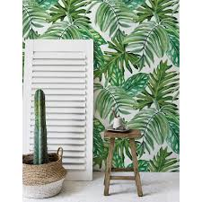 Jungle Leaves Wallpaper Exotic Wall Mural Wall Covering Self Adhesive Watercolor Ebay