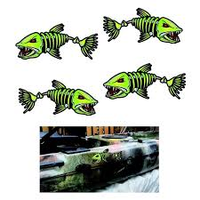 4pcs Fish Bone Kayak Decal Sticker For Fishing Boat Car Truck Window Wish
