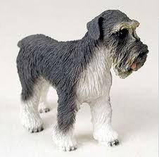 schnauzer dog gray uncropped figurine