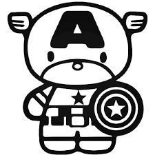 Hello Kitty Captain America Vinyl Decal Sticker