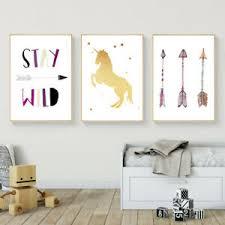 Unicorn Arrow Wall Art Canvas Poster Nursery Quote Prints Kids Bedroom Decor Ebay