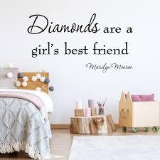Vwaq Diamonds Are A Girl S Best Friend Marilyn Monroe Vinyl Wall Decal Quotes Art 10193 Walmart Com Walmart Com