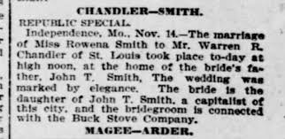 15Nov1901 Rowena Smith (daughter of James T Smith) wed yesterday ...