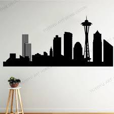 Hand Made Seattle Vinyl Skyline City Wall Decal Sticker Of Seattle City Silhouette Vinyl Decor Washington Mural Skyline Rb 23 Wall Stickers Aliexpress