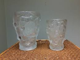 2 barolac weil glass vase frosted