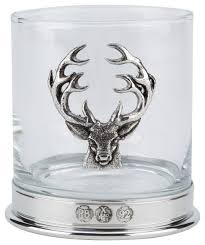 english pewter whiskey glass stag motif