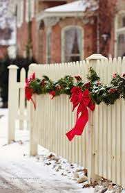 White Picket Fence Looking Festive Outdoor Christmas Decorations Christmas Decorations Outdoor Christmas