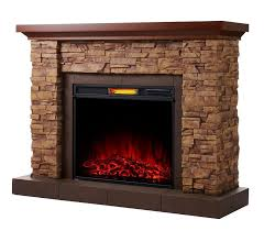 stacked stone mantel w electric