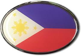Philippine Flag Black Plastic Car License Plate Frame Domed Decal Philippines Car Chrome Decals