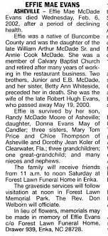 Effie McDade Evans Obituary - Newspapers.com