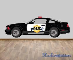 Police Car Wall Decal Reusable Fabric Decal Nontoxic Etsy
