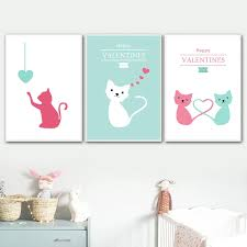 Nordic Poster Cartoon Cat Wall Art Canvas Posters And Prints Kids Room Canvas Painting Living Room Happy Valentines Day Decor Painting Calligraphy Aliexpress
