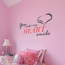 You Make My Heart Smile Romantic Wall Art Vinyl Wall Lettering Vinyl Wall Decals
