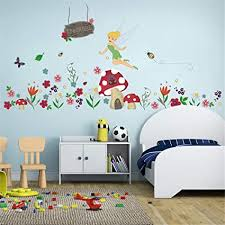 Amazon Com Ufengke Flower Fairy Wall Stickers Mushroom House Wall Decals Art Decor For Girls Kids Bedroom Nursery Toys Games