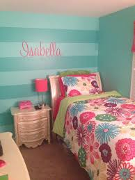 Girls Teal Stripe Wall And Isabella Wall Decal From Etsy Sherwin Williams Tantalizing Teal Paint And Syne Girls Room Colors Girls Room Paint Diy Girls Bedroom