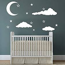 Amazon Com Cloud Wall Decals Baby Room Nursery Clouds Moon And Stars Wall Vinyl Decal Stickers Playroom Kids Children Bedroom Murals Home Decor Baby